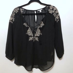 American Eagle sheer embroidered peasant blouse